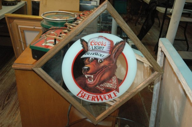 Coors Light Quot Beer Wolf Quot Mirror Sign Lot 134