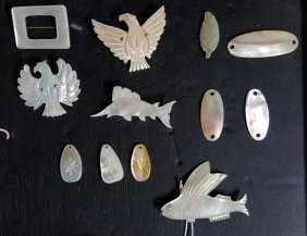 Mother Of Pearl Pin Collection; Fish & Feathers