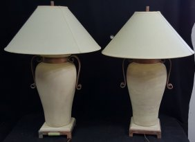 Pair Of Glazed Pottery Urn Lamps