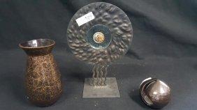 Wanwright Pottery Nyc, Moden Black / Gold Vase &