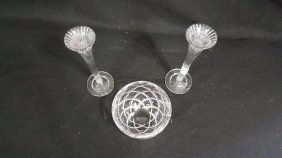 Waterford Crystal Candlesticks & Tiffany & Co Bowl