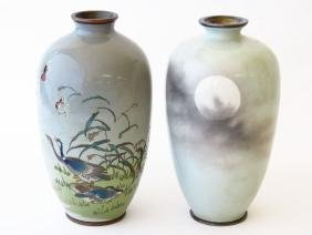 (2) Japanese Silver/brass Cloisonne Vases 19/20th C.