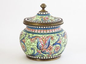 RUSSIAN ENAMELED COVERED JAR SIGNED O. KURLIUKOV 19TH