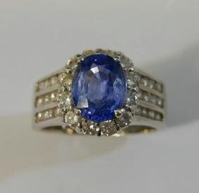 18K WHITE GOLD NATURAL 1.3 CT SAPPHIRE & DIAMOND RING