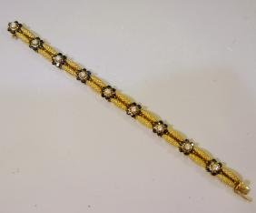 BEAUTIFUL DIAMOND SAPPHIRE 18K GOLD BRACELET