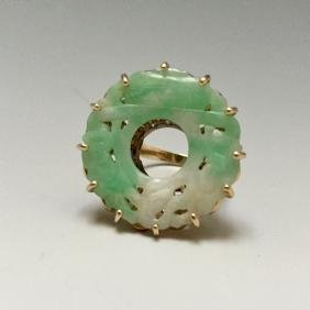 VINTAGE  JADEITE 10K YELLOW GOLD RING