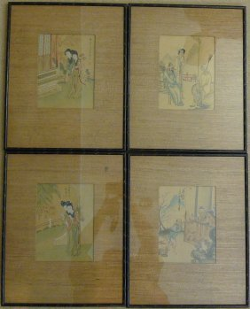 4 Antique Chinese Watercolor Paintings