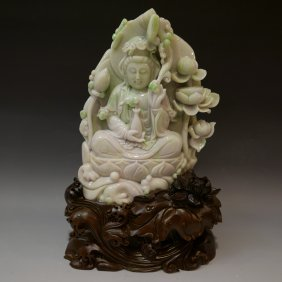 Magnificent Chinese Carved Lavender And Green Jadeite