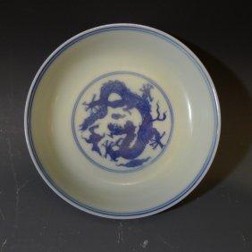Chinese Antique Blue White Porcelain Dragon Dish Kangxi