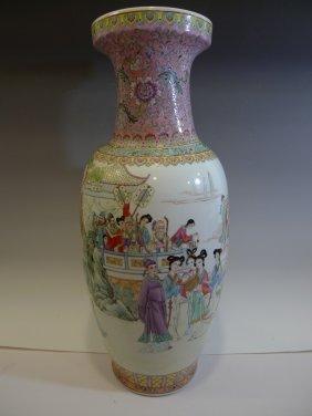 Huge Chinese Antique Famille Rose Porcelain Vase -