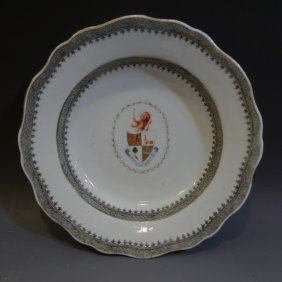 Rare Antique Chinese Armorial Porcelain Plate - 18th