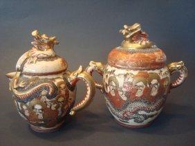 Antique Japanese Satsuma Teapots With Dragon, Meiji