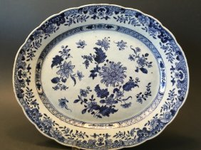 Antique Chinese Blue And White Platter, 18th Century,