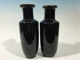 Antique Chinese Pair Monochrome Black Glaze Vases, 19th