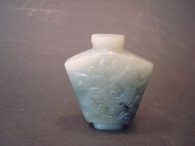 Antique Chinese Celadon White Snuff Bottle With