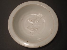 Antique Chinese White Porcelain Plate With Double Fish,