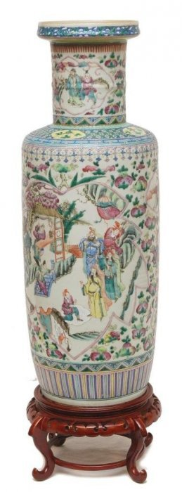 """Antique Chinese Famille Rose Vase, 19th C. 24"""" High"""
