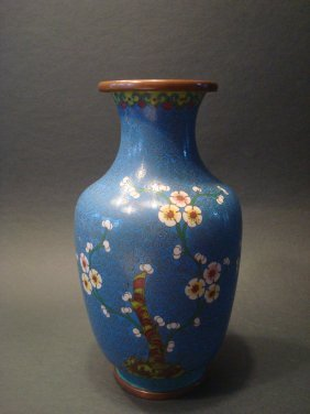 "Antique Chinese Cloisonne Vase, Late Qing. 9"" H"