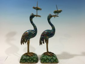 Antique Chinese Pair Cloisonne Candle Sticks, Late