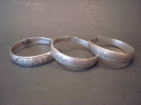 Antique Chinese Silver Bracelets, Marked And With