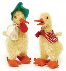 Steiff 2 Ducks, Pre-war Era, 1928 - 1932, 14 Cm, With