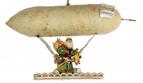 Christmas Tree Decoration, Zeppelin, Cotton Wool, Wafer