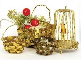 Christmas Tree Decoration, 4 Pieces, Birdcage,