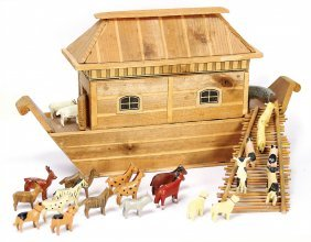 Erzgebirge Noah`s Ark, Wood, Ark, Roof Is Removeable,