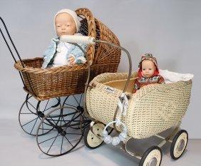 2 Puppen-korbwagen, 1 X Mit Gussspeichenrädern,
