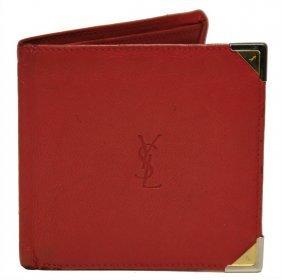 Yves Saint Laurent Geldbörse, Rot, Leder, 1 Mü
