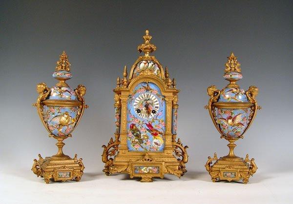 1019 L Marti French Enamel Rococo Clock Garniture Set