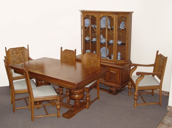 16 8 Pc BELGIAN OAK DINING TABLE CHAIRS CHINA CABINET Lot 16