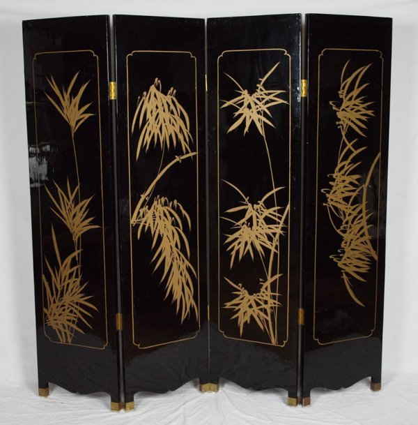 Mother Of Pearl Inlay Wooden Mini Folding Screen Asian: 234: BLACK LACQUER ORIENTAL 4 PANEL FOLDING SCREEN : Lot 234