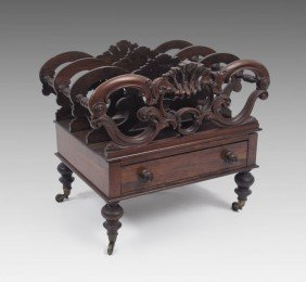 EARLY VICTORIAN CARVED ROSEWOOD CANTERBURY
