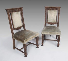 PAIR HORNER QUALITY CARVED OAK SIDE CHAIRS