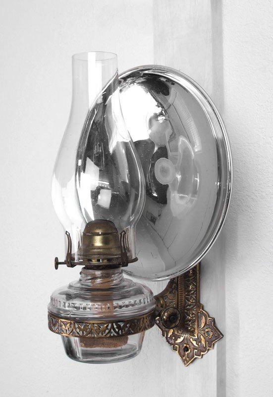 243A: WALL MOUNT OIL LAMP WITH MERCURY GLASS REFLECTOR : Lot 243A