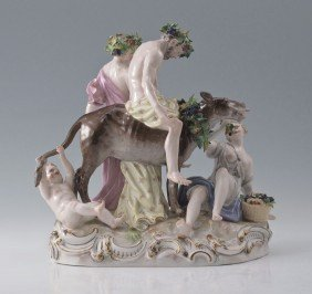 MEISSEN FIGURAL GROUP SILENUS ON A DONKEY