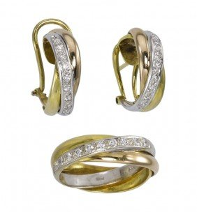 18K DIAMOND GOLD BAND AND EARRINGS