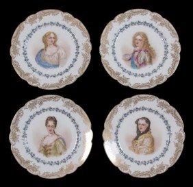 SET OF 4 SEVRES CHATEAU ST. CLOUD PORTRAIT PLATES