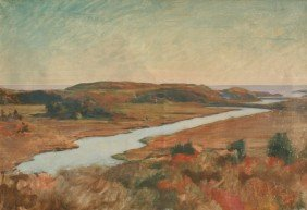 EXCEPTIONAL PANORAMIC MARSH SCENE PAINTING