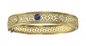 PERIOD GOLD FILIGREE SAPPHIRE & DIAMOND BRACELET