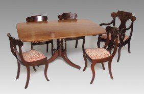 ENGLISH TILT TOP DINING TABLE & CHAIRS