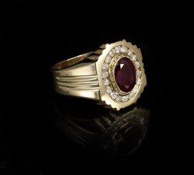 2.80 CT RUBY W/ DIAMONDS 14k GOLD RING SZ 10
