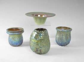 4 PIECE ZEPHYR IRIDESCENT ART GLASS VASES