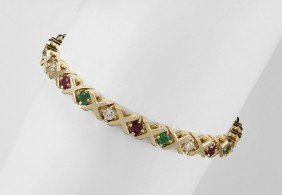 GOLD DIAMOND, RUBY & EMERALD BRACELET 24 GR 7''l.