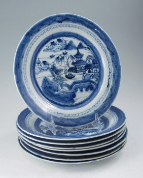 8 CANTON BLUE AND WHITE PLATES