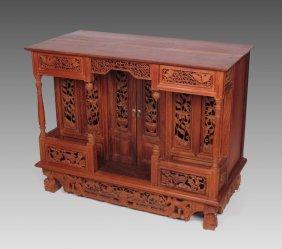 PROFUSELY CARVED TEAK ALTAR TABLE