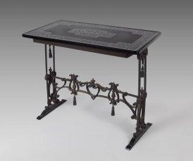 EARLY 20TH C WROUGHT IRON BLACK GLASS TOP TABLE