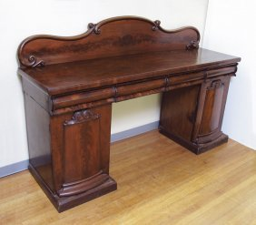 19TH C MAHOGANY DOUBLE PEDESTAL SIDEBOARD:  53'' H.