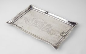 TIFFANY & CO. HAMMERED STERLING TRAY WITH SCARAB